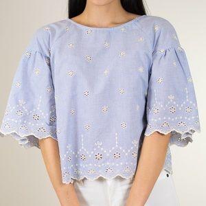 Sanctuary Viola blue White eyelet pinstripe blouse